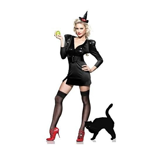 Ponce Sexy Witch Costume Black Sequin Outfit Mini Hat Dress (Black Sequin Witch Costume)