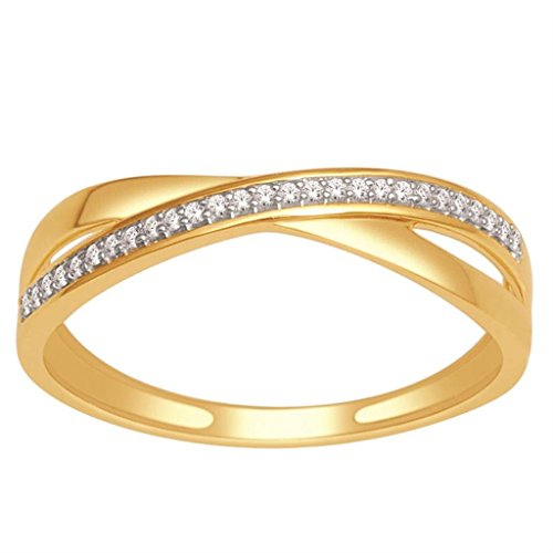 Criss Cross Wedding Band Ring 10K Yellow Gold White Gold 0 07