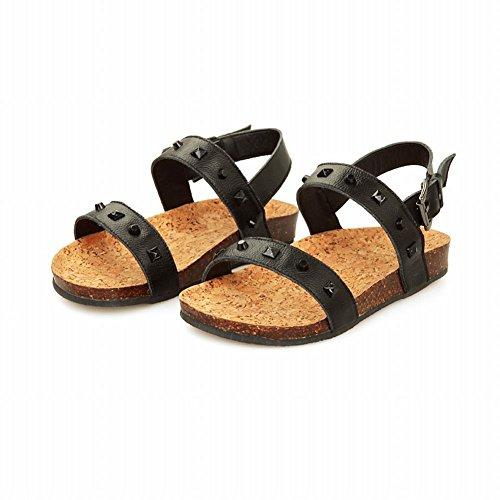 Klinknagels Klinknagel Dames Comfort Mode Open-teen Casual Studded Buckle Flats Sandalen Zwart