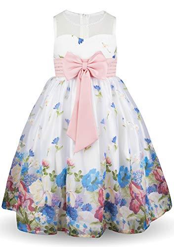 Aodaya Flower Girl Petals Dress Kids Blue Bow Tie Sash Dresses for Girls, 1-9t ()