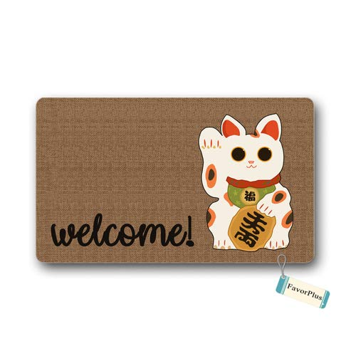 Doormat Japanese Maneki Neko Fortune Lucky Cat Welcome Outdoor/Indoor Non Slip Decor Funny Floor Door Mat Area Rug for Entrance 18x30 inch