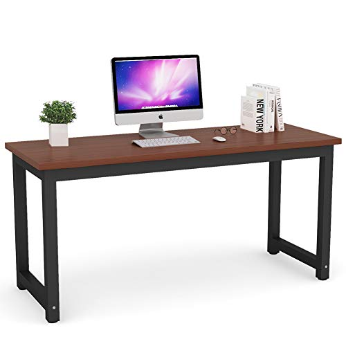 Tribesigns Modern Computer Desk, 63 inches Large Office Desk Computer Table Study Writing Desk for Home Office, Solid Metal Frame (L Desk Shaped Usb)