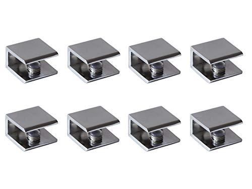 Glass Shelf Brackets Shelf Clips Metal Clamps Chrome Square Shape Wall Mounted Adjustable 6-10mm for Acrylic Wood (Set of 8)