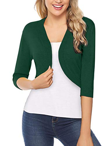 iClosam Women Open Front Cardigan 3/4 Sleeve Long Sleeve Cropped Bolero Shrug (Green, Large)
