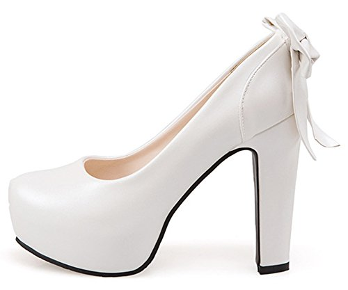 Aisun Femmes Mignon Bowknot Coupe Basse Habillé Bout Rond Slip Sur Chunky Talons Hauts Plateforme Cachée Pompes Chaussures Blanc