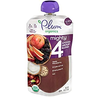 Plum Organics Mighty 4 Blends Toddler Food, Apple, Blackberry, Purple Carrot, Greek Yogurt & Oat, 4 Oz Pouch (12 Pack)