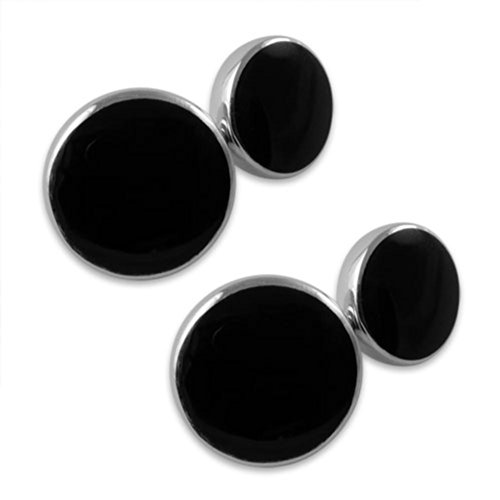 - Baxters Jewellers Sterling Silver Onyx Double-sided Cufflinks
