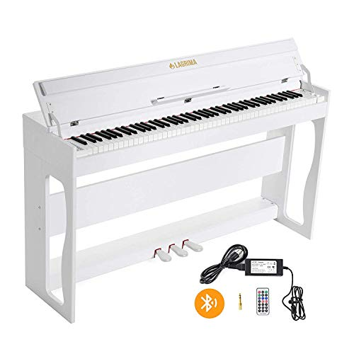 LAGRIMA White Digital Piano/Keyboard with 88 Weighted Keys, Bluetooth & MP3 Function, USB/MIDI/Headphone/Mic/Audio Output Feature, Suit for Kids, Adult, Beginner or Training Institution