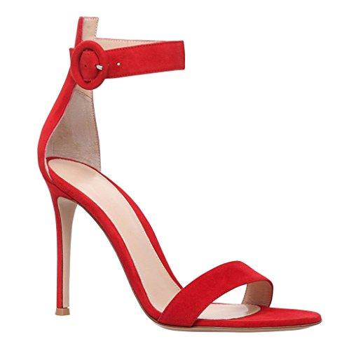 de Rouge Ouvert Cheville à 10CM Aiguille Femme Bride Talon Chaussures Sandales Bout EDEFS q0Zw7Z