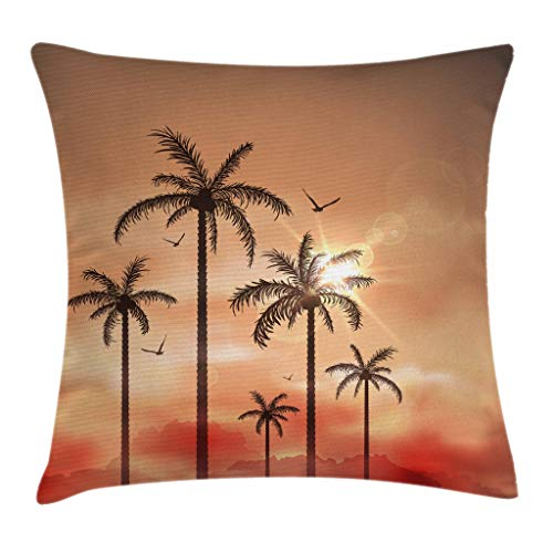 (Ambesonne Tropical Throw Pillow Cushion Cover, Palm Trees with Dramatic Hazy Sky Clouds and Gulls Exotic Display Art, Decorative Square Accent Pillow Case, 16 X 16 Inches, Coral Salmon Brown)