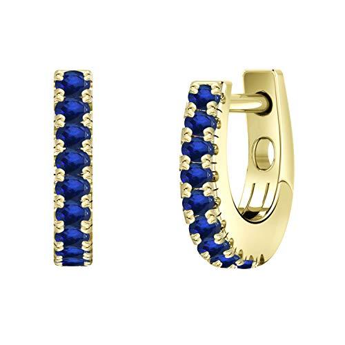 Diamond Wish 14k Yellow Gold Small Blue Sapphire Gemstone Huggie Hoop Earrings (0.18 carat TW, Blue)