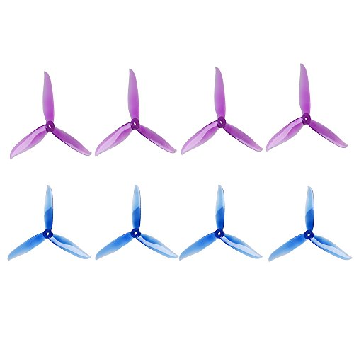 DALPROP 8pcs T6040C 3-Blades (6x4x3) Propellers Tri-Blade Props CW CCW for 6 inch FPV Freestyle Frame Quadcopters (Crystal Blue/Purple)