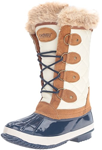 Khombu Women's Andie Snow Boot, Tan/Navy, 6 M US