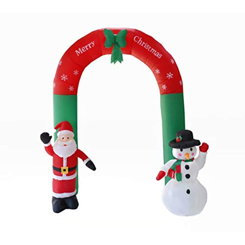 8 Foot Christmas Archway Indoor/Outdoor Inflatable Santa Snowman Xmas Garden Yard Decorations Venue Arrangement Party Props with LED -