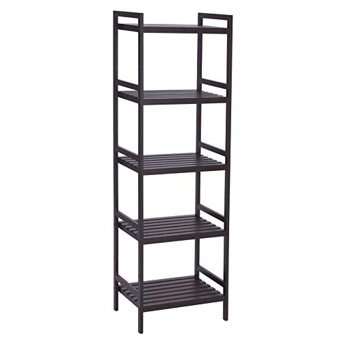 SONGMICS Adjustable Storage Shelf Rack,5-Tier Multifunctional Shelving Unit Stand Tower,Bookcase for Bathroom Living Room Kitchen 17.7 x 12.4 x 55.9'', Holds up to 132 lbs Bamboo Brown UBCB75BR by SONGMICS