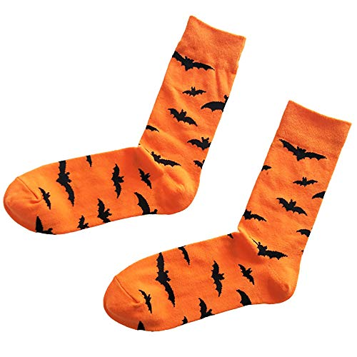 UOKNICE Halloween Men&Women Cotton Sockings Bat Pumpkin Sweat Absorbent Breathable -