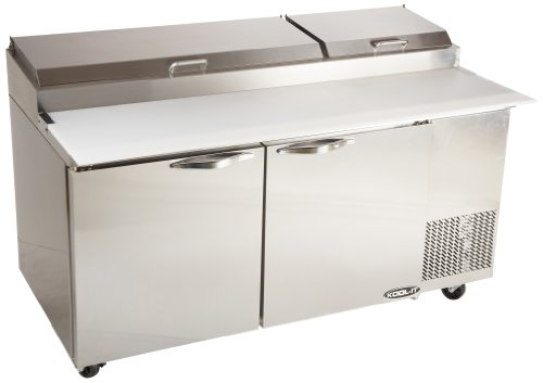 "Kool-It KPT-67-2 Stainless Steel Pizza Table with 5"" Swivel Castors and 2 Front Brakes, 67"" Width x 42"" Height x 36"" Depth"