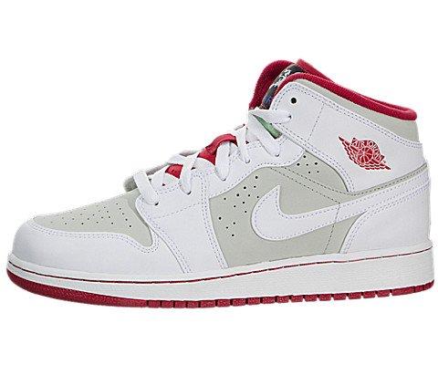 Nike Kids Air Jordan 1 Mid Wb Bg White/True Red/Light Silver/Blk Basketball Shoe 5 Kids US