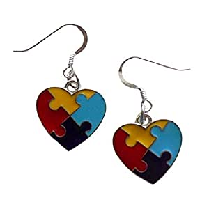 Puzzle Piece Heart Earrings Autism Aspergers Syndrome Awareness Sterling Silver Earwire IN GIFT BOX
