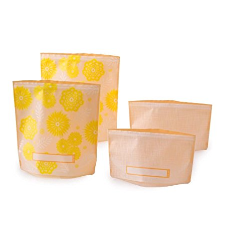Reuseit Reusable, Dishwasher safe, Freezer safe, Leak resistant, double-lock closure Sandwich and Snack Bags - Set of 4 - Yellow Flowers (Freezer Safe Bag compare prices)