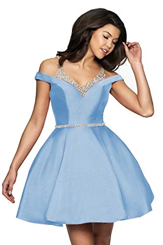 YGSY Women's Cold Shoulder Homecoming Dresses Short Ruched Prom Gowns with Beaded Bodice Ligth Blue Size - Beaded Bodice Ruched