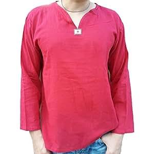Los hombres de verano para hombre 100% Thai algodón cuello en V manga larga camiseta tamaño Xxl Color Rojo PJ