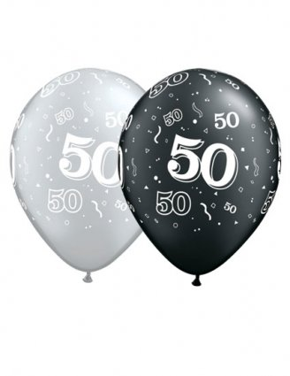 Pack Of 25 Black Silver 50 PRINT 50th Birthday Latex Balloons