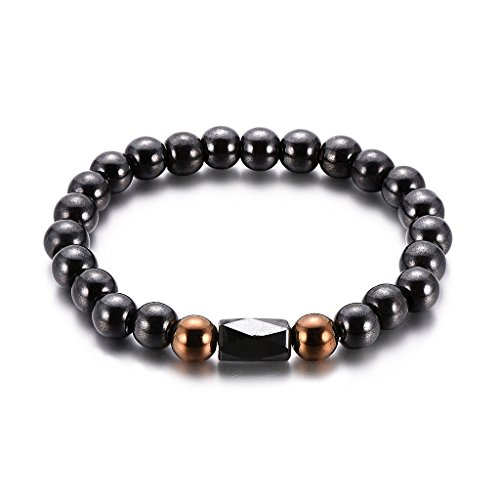 (ForHe Magnetic Bracelet Beads Hematite Stone Therapy Health Care Magnet Hematite Beads)