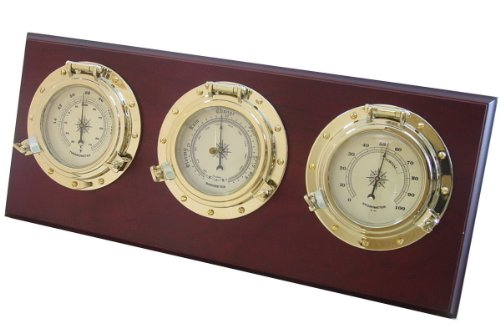 Humidity Barometer - Ambient Weather WS-GL025 Porthole Collection Weather Center with Temperature, Humidity and Barometer