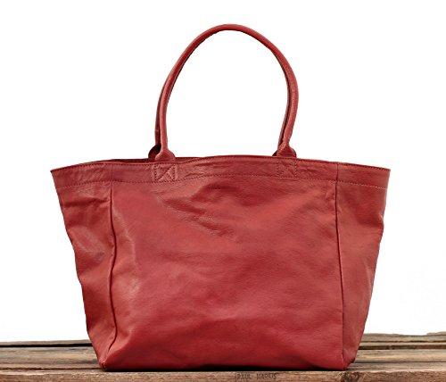 PAUL MARIUS Leder-Einkaufstasche-Handtaschenfrauen gröBe M coral MON PARTENAIRE