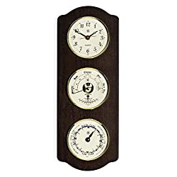 Kensington Row Coastal Collection Weather Stations - Tidewater Clock, Tide Clock and Barometer/Thermometer On Ash Wood Base - Weather Instruments