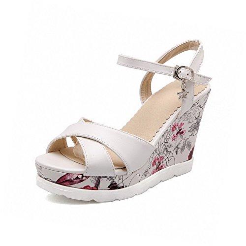 AmoonyFashion Womens Buckle Open-Toe High Heels Pu Solid Sandals White fz9DQEKTV