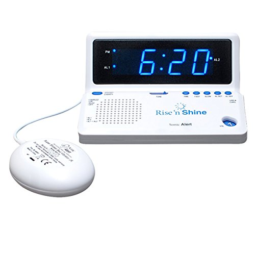 SONIC ALERT Rise 'n Shine Alarm Clock with Dual Alarms, Powerful Bed Shaker and USB Charging - SBT625SS ()