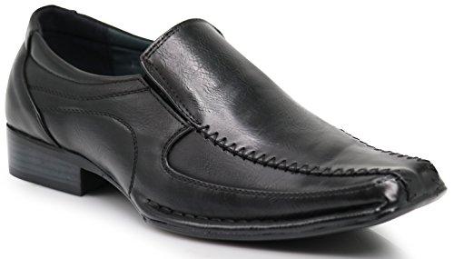 Enzo Romeo ND2 Men's Dress Bike Toe Loafers Elastic Slip on with Plain Fashion Shoes (7 D(M) US, Black) by Enzo Romeo