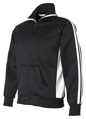 Mens Vintage Track Jacket - J America J8858 Men's Vintage Polyester Fleece Track Jacket, Black, X-Large