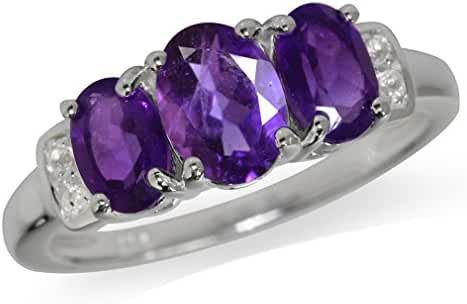 1.53ct. 3-Stone Natural African Amethyst & White Topaz 925 Sterling Silver Ring