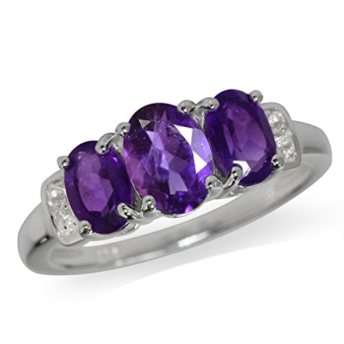 1.53ct. 3-Stone Natural African Amethyst & White Topaz 925 Sterling Silver Ring Size 7 (1.53 Ct Natural)