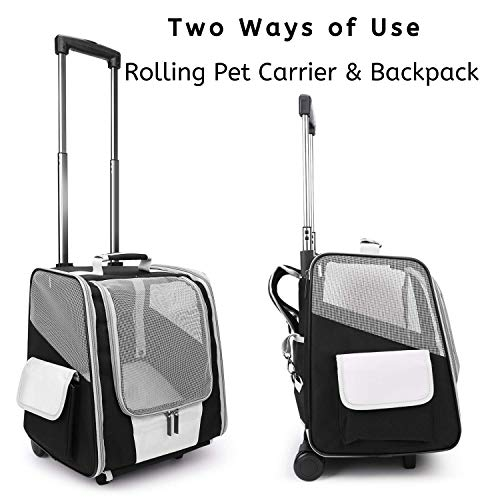 Lollimeow Pet Rolling Carrier, Dog Backpack with Wheels,Cats,Puppies Travel Bag with Wheels,Dog Trolley Airline Approved
