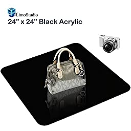 LimoStudio 24 Inch Acrylic Black Reflective Display Table Background Board, Product Table Top Photography Shooting, AGG1825