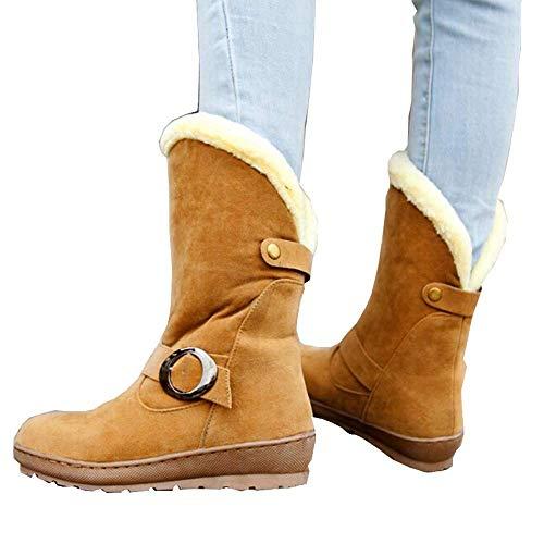 Nieve Zapatos Fondo De Fuxitoggo Antideslizantes La Con Hebilla Calzado Botas Invierno Señora Redonda Para Cabeza Plano Algodón Metal t6SqfSWnRz