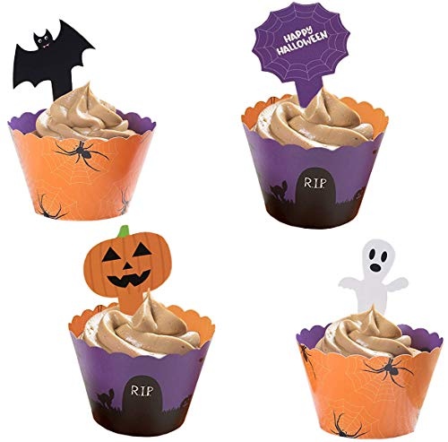 Halloween Cupcake Toppers and Liners - 102-Piece Halloween Themed Cupcake Wrappers Baking Supplies, Kids Party Favors for Cake and Muffin Decorations, Jack-O-Lantern, Ghost, Bat, and Spider Web ()