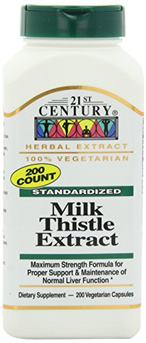 21st Century Standardized Herbal Extract Capsules, Milk Thistle Extract, Maximum Strength, 200-Count Bottles (Pack of 2)