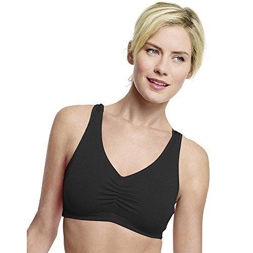 Hanes Women's Stretch Cotton Low Imact Sports Bras - 2 Pack, White/Black, Medium (Spaghetti Strap Bras)