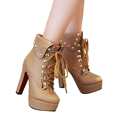 Outtop(TM) Retro Women Solid Ankle Boots Ladies Metal Rivet Thick Super High Heel Round Toe Short Booties (US:7, Brown)
