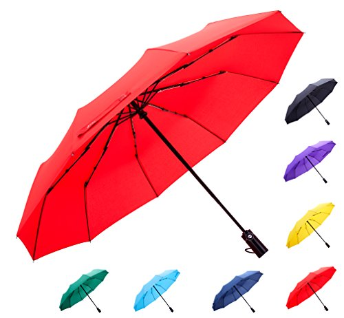 Fidus Large Automatic Windproof Umbrella 10 Ribs Compact Folding Travel Golf Umbrella With Coating For Women Men Red