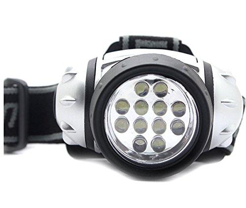 Bigoneshop Ultra Bright 12 LED 4 Mode 38-Lumen White LED Headlamp Heaplight Adjustable Strap & Light Weight for Running Fishing Mechanic, Inspection,Work etc