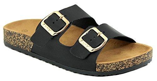 Cambridge Utvalda Womens Öppen Tå Spände Två Band Slip-on Flat Slide Sandal Svart Pu