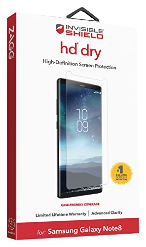 ZAGG - InvisibleShield HD Dry Film Screen Protector - Samsung Galaxy Note 8 Screen Protector - Advanced Clarity - Reduced Scratch Protection - 3X Shatter Proof ()