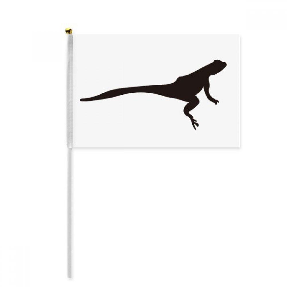 Black Lizad Animal Portrayal Hand Waving Flag 8x5 inch Polyester Sport Event Procession Parade 4pcs