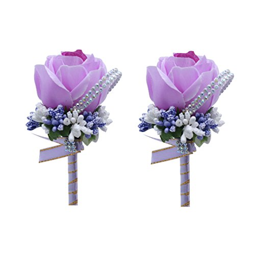 USIX 2pc Pack-Handmade Men's Lapel Satin Flower Vivid Artificial Satin Rose Boutonniere Pin for Suit Wedding Groom Groomsmen Brooch Rose Boutonniere (Lavender) (Lavender Rose Button)